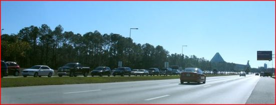 Traffic to Magic Kingdom backed up for over a mile 12-27-2012 Source: @bioreconstruct on Twitter)